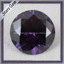 Brilliant Cut Forma redonda Púrpura Zirconia cúbica Piedra preciosa