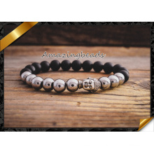 Agate Stone and Alloy Bead Silver Buddha Charms Stretchy Bracelet (CB044)