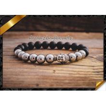Агатовый камень и сплав из бисера Серебряный Будда Подвеска Stretchy Bracelet (CB044)