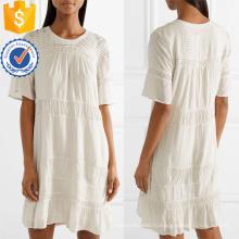 Горячая Распродажа Белый хлопок Плиссированные с коротким рукавом мини-платье Производство Оптовая продажа женской одежды (TA0316D)