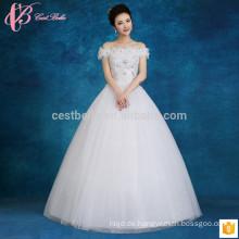 Lace appliques Perlen Ballkleid billig nach Maß plus Größe Prinzessin Brautkleid