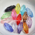Chunky Transparent Acrylic Crystal Oval Faceted Bicone Beads as Jewelry Spacer Charm