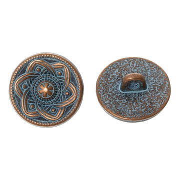 Metal Round Antique Button With Flower Pattern