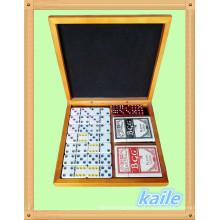 Double 6 dominó e pokers embalar em caixa de madeira