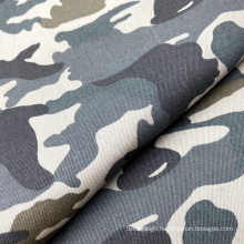 Hot selling washed camouflage print woven 97% cotton 3% spandex twill fabric for jackets