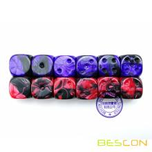 Bescon Unpainted Two Tone 16MM Game Dice with Flat 6th Side, 2 Assorted Color Set of 12pcs, Gemini Cube
