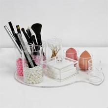 Suporte de cotonete de algodão acrílico para armazenamento de esponja de maquiagem