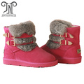 Winter women leather suede ankle flat fur boots