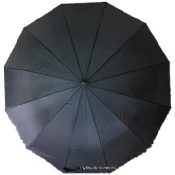 Black Pongee Straight Umbrella (JYSU-22)