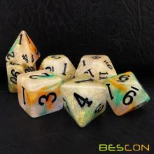 Bescon Magical Steinwürfel-Set Serie, 7-tlg. Polyedrisches RPG-Würfel-Set Golderz, Tinbox-Set