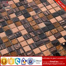 cheap mosaic tile brown mixed Hot - melt glass mosaic floor tile