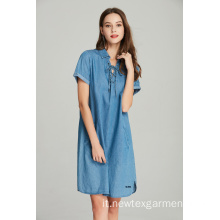abito da donna in denim tencel stringato con occhielli