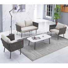 All hand-made nice quality outdoor rope sofa set patio use aluminium frame webbing furniture