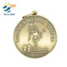 Antique or 3D alliage de zinc personnalisé fabricant Metal Moving Sports Metal Medal