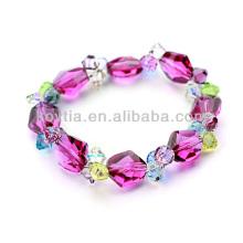 Venda quente naturais multicolor braceletes frisado cristal austríaco