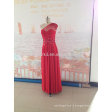 2014 New Arrival Fashion One-Shoulder Chiffon Beads Sparkle Red Long Evening Dresses