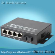 Alibaba trade assurance única fibra 4 UTP 4 portas conversor de mídia de fibra óptica