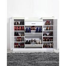 Armoire à rayures de chaussures blanc brillant
