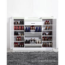 White High Gloss Lacquer Shoe Rack Cabinet