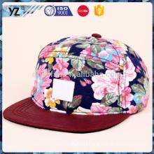 High Quality Wholesale Caps Custom 5 Panel Hat snapback hats/sport caps/printing leather badge 5-panel hat/