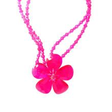 Luxus Big Bold Pink Kristall Blume Aussage Halskette für Party oder Show