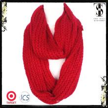 Echarpe en tricot de couleur unie de haute qualité en hiver rouge doux