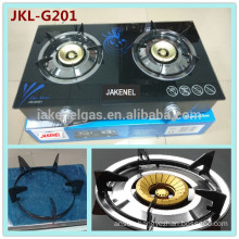 tempered glass top double burner gas stove