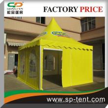 Carré en aluminium 6x6m tache d'évènement en pagode en PVC jaune avec impression logo