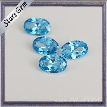 Alta Qualidade Aqua Blue 8 * 6 Oval CZ Stone para Jóias