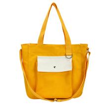 New style custom logo front pocket girl fashion cotton canvas cross body tote bag