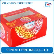 Sencai pas cher simple boîte de gâteau de riz festif avec logo estampage et découpes de papier pour la décoration de fenêtre