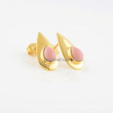Розовый дизайнер опал 18k позолоченный серьга драгоценной камня стерлингового серебра