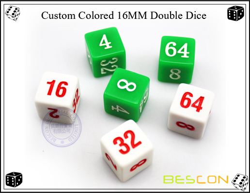 Custom Colored 16MM Double Dice