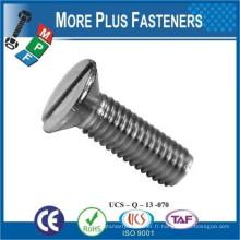 Fabriqué en Taiwan Machine Screw ISO 2009 Slotted Flat Head Countersunk