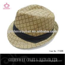 High Quality Custom Fedora Hat with Black Ribbon