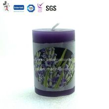 Lavender Scented Cylindrical Decorative Candle
