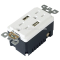 UL Listed 15-Amp AC Wall Outlet Receptacle with 2 Built-In USB Charger Ports