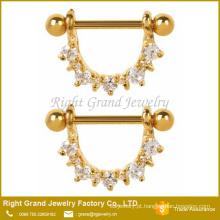 316L aço cirúrgico Zircon cúbico clara Prong conjunto bocal chapeado ouro anéis escudos