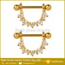 316L хирургическая сталь ясно Кубический циркон зубец набор золото покрытием сосков кольца щита
