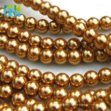 Gold Glas Runde Kunstperlen 8mm lose Perlen