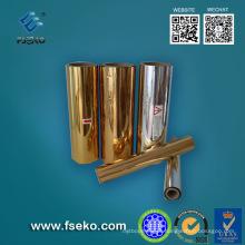 Película de estratificação térmica do animal de estimação metalizado lustroso do ouro