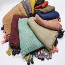 2017 New Fashion lastest maxi top seller printed fashion shawl scarf printed solid color cotton tassels muslim hijab scarf
