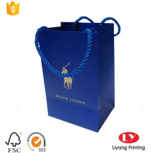 Custom blue printed jewelry paper packaging bag