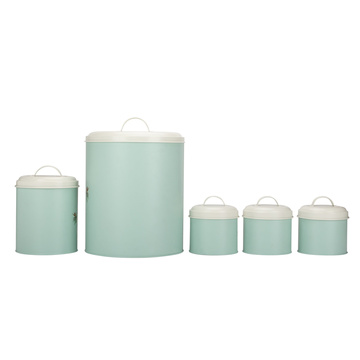 Conjunto de vasilhas de armazenamento de metal redondo para uso doméstico