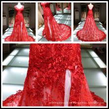 2017 encaje rojo Applique A-line alta Split correa V-cuello con cordones vestido de boda Tiamero 1A887