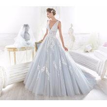 V Шеи Синий Тюль Аппликация Свадебные Платья