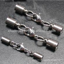 Embouts en acier inoxydable BXG005 - Embout avec fermoir à la gril de homard et chaîne d'extension pour cordon en cuir Bijoux DIY Trouver