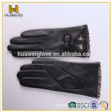 Gants de mode en cuir noir Bowknot avec dentelle