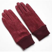 Леди мода свиной кожи замши кожаный перчатки для вождения (YKY5206)