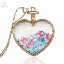 Vergoldete schwimmende Heilung Herz Anhänger handgemachte Kristall Halskette